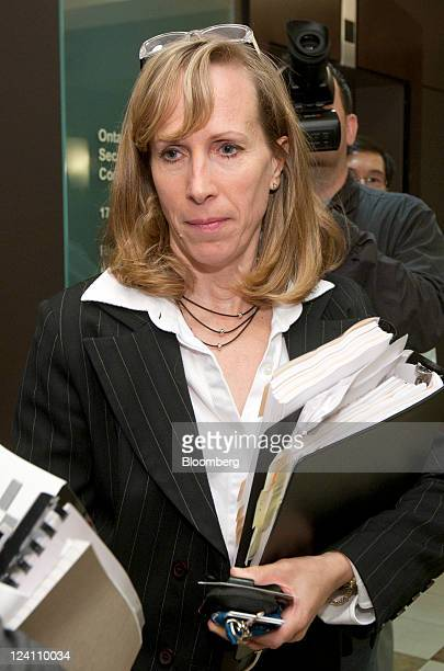 Karen Manarin attorney for the Ontario Securities Commission exits the hearing rooms of the OSC in Toronto Ontario Canada on Thursday Sept 8 2011...