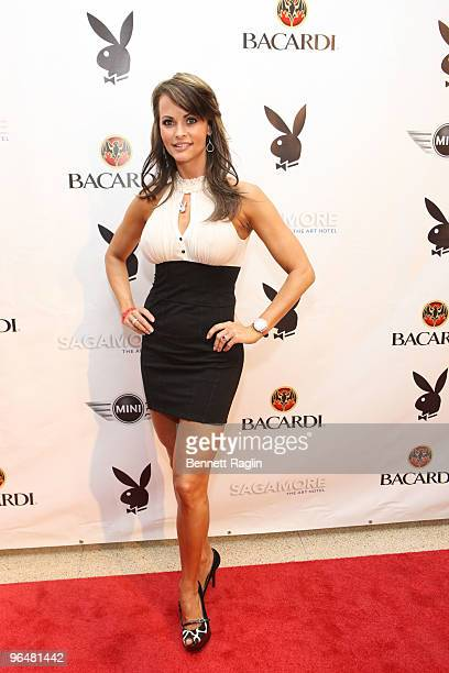 Karen McDougal, Playboy Playmate of the Year 1998 attend Playboy's Super Saturday Night Party presented by Bacardi at Sagamore Hotel on February 6,...