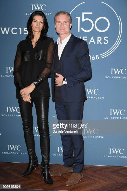 Karen Minier and David Coulthard are seen at IWC Schaffhausen at SIHH 2018 on January 16 2018 in Geneva Switzerland