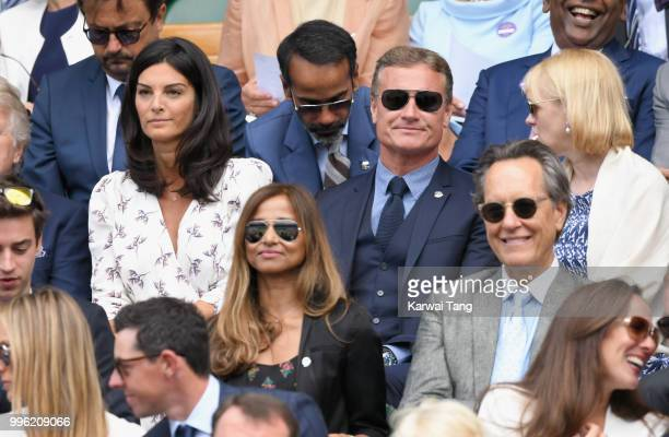 Karen Minier and David Coulthard attend day nine of the Wimbledon Tennis Championships at the All England Lawn Tennis and Croquet Club on July 11...