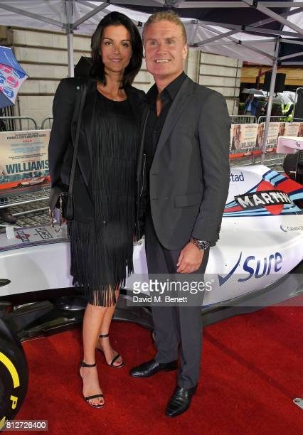 Karen Minier and David Coulthard attend the World Premiere of Williams hosted by Martini at The Curzon Mayfair on July 11 2017 in London England