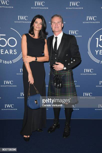 Karen Minier and David Coulthard walk the red carpet for IWC Schaffhausen at SIHH 2018 on January 16 2018 in Geneva Switzerland