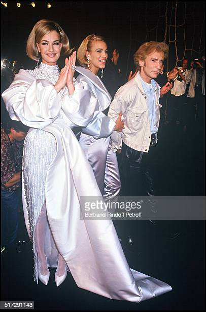 Karen Mulder and Emma Sjoberg and the fashion designer Claude Montana Lanvin Haute Couture fashion show fall winter 19921993 collection in Paris