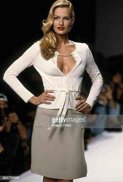 Karen Mulder at the Nicole Miller Spring 1995 show circa 1994 in New York City