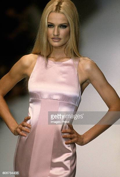 Karen Mulder at the Valentino runway show circa 1998 in Paris France