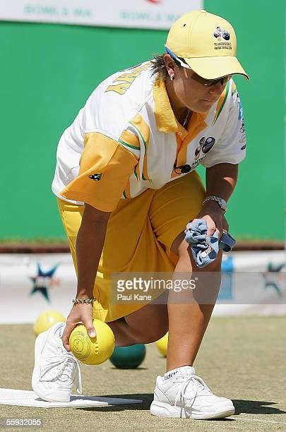 Karen Murphy of Australia in action against South Africa during the TriNations Bowls Series at the Melville Bowling Club October 16 2005 in Perth...