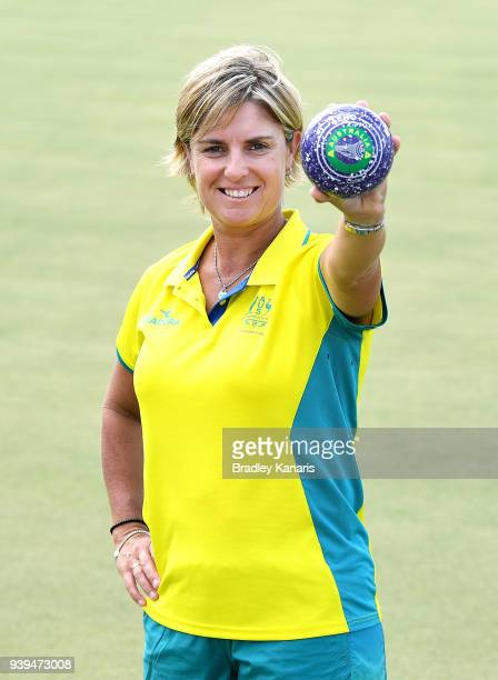 Karen Murphy poses for a photo as the Australian lawn bowls Commonwealth Games squad prepare for the Games at the Windsor Bowls Club on March 29 2018...