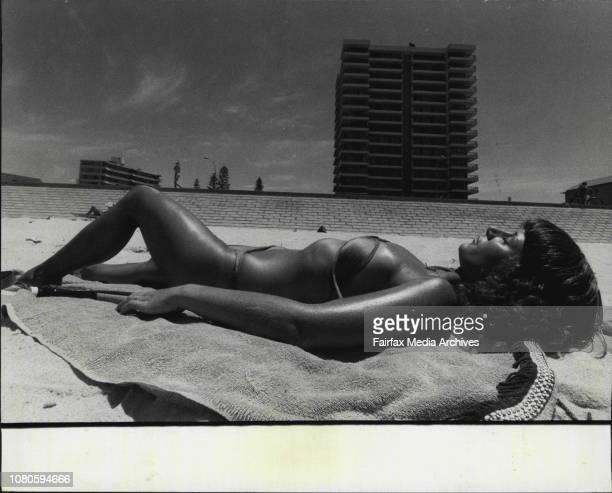 Karen Nielsen 24ys Canadian Sunbathing Series on Manly January 21 1981