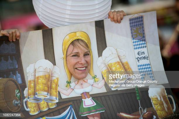 Karen Nilausen of Laguna Niguel poses with cardboard cutout during the 5th annual San Clemente Oktoberfest in San Clemente CA on Saturday October 21...
