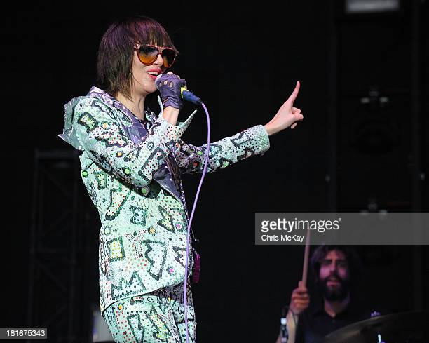 Karen O and Brian Chase of Yeah Yeah Yeahs perform at the 2013 Music Midtown Festival at Piedmont Park on September 21 2013 in Atlanta Georgia