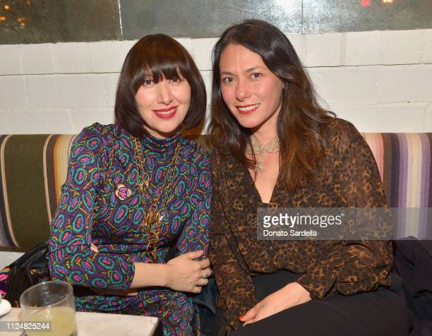 Karen O and Danielle Steckler attend Liz Goldwyn and MATCHESFASHIONCOM celebrate the launch of Frieze LA at Gracias Madre on February 13 2019 in West...