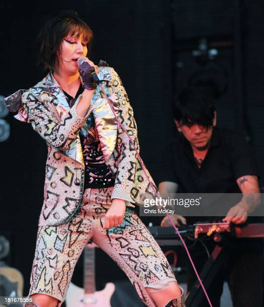 Karen O and Nick Zinner of Yeah Yeah Yeahs perform at the 2013 Music Midtown Festival at Piedmont Park on September 21 2013 in Atlanta Georgia
