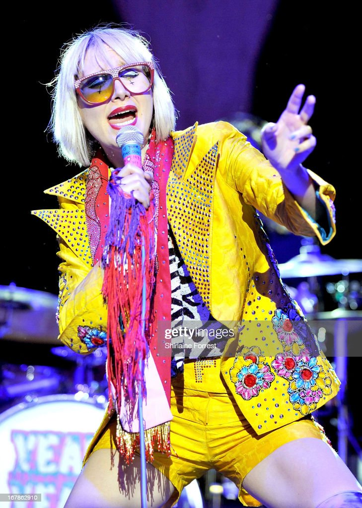 Karen O of Yeah Yeah Yeahs performs a sold out show at Manchester Apollo on May 1, 2013 in Manchester, England.