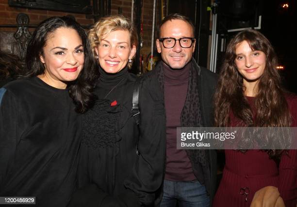 Karen Olivio, Faith Hill, husband Tim McGraw and daughter Audrey Caroline McGraw pose backstage at the hit musical based on the Baz Luhrmann film...