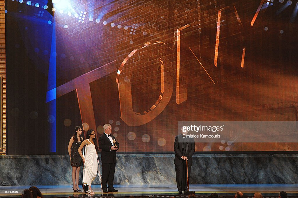 Karen Olivo, Gregory Jbara and Alan Ayckbourn onstage during the 64th Annual Tony Awards at Radio City Music Hall on June 13, 2010 in New York City.