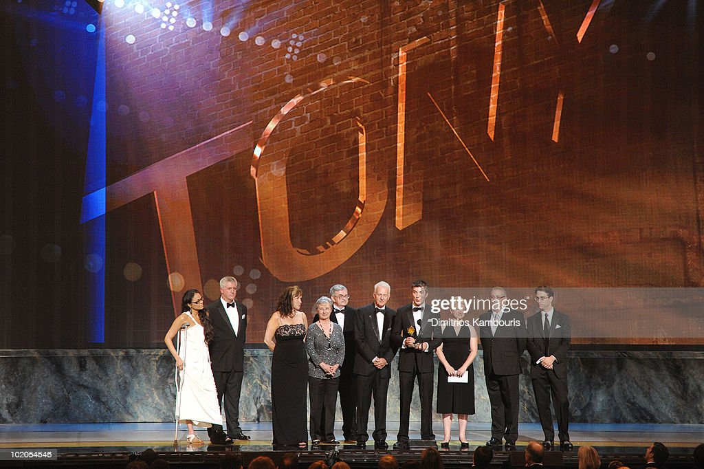 Karen Olivo, Gregory Jbara and representatives from The Eugene O'Neill Theater Center onstage during the 64th Annual Tony Awards at Radio City Music Hall on June 13, 2010 in New York City.