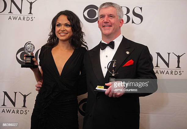 """Karen Olivo, winner Best Performance by an Actress in a Musical, for """"West Side Story"""" and Gregory Jbara, winner Best Performance by a Featured Actor..."""