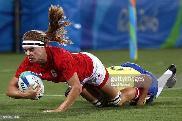 Karen Paquin of Canada dives to score a try during a Women's Pool C rugby match between Canada and Brazil on Day 1 of the Rio 2016 Olympic Games at...