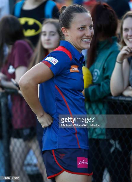 Karen Paxman of the Demons looks on during the 2018 AFLW Round 01 match between the Melbourne Demons and the GWS Giants at Casey Fields on February 3...