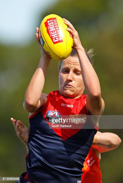 Karen Paxman of the Demons marks the ball during the round one AFLW match between the Melbourne Demons and the Greater Western Sydney Giants at Casey...