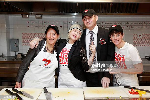 Karen Pearl, President and CEO of God's Love We Deliver, singer Cyndi Lauper, John Demsey, M.A.C Aids Fund Chairman, Group President of Estee Lauder...