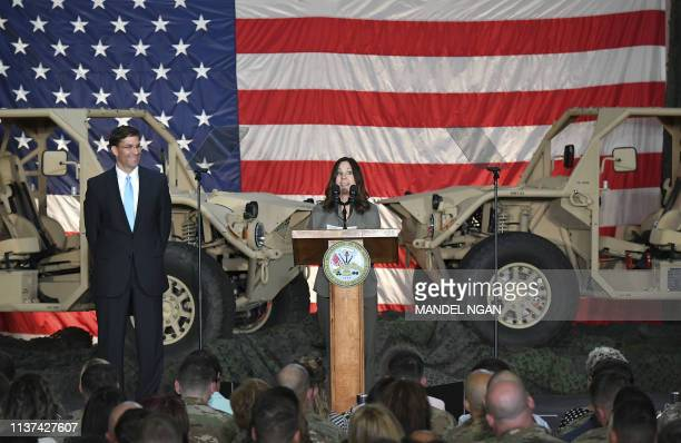 Karen Pence the wife of US Vice President Mike Pence speaks alongside US Secretary of the Army Mark Esper as she and US First Lady Melania Trump...