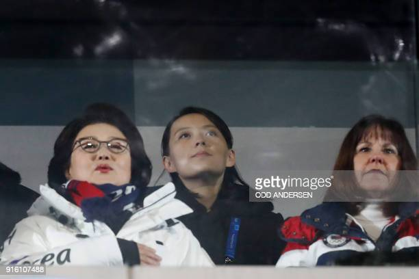 TOPSHOT Karen Pence wife of US Vice President Mike Pence North Korea's leader Kim Jong Un's sister Kim Yo Jong and Kim JungSook the wife of South...