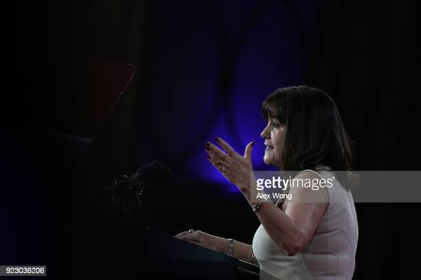 Karen Pence wife of US Vice President Mike Pence speaks during CPAC 2018 February 22 2018 in National Harbor Maryland The American Conservative Union...