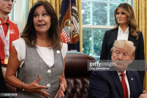 Karen Pence, wife of Vice President Mike Pence, talks about the United States Special Olympics World Games team as U.S. President Donald Trump and...