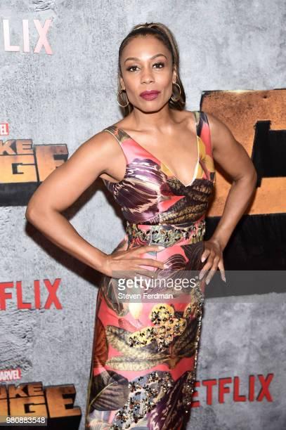 Karen Pittman attends the 'Luke Cage' Season 2 premiere at The Edison Ballroom on June 21 2018 in New York City