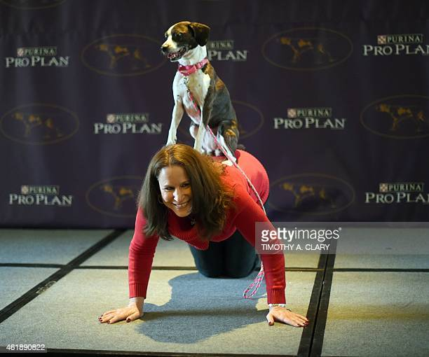 Karen Profenna of New City New York and Hailey show off during the 139th Annual Westminster Kennel Club Dog Show press conference on January 21 to...