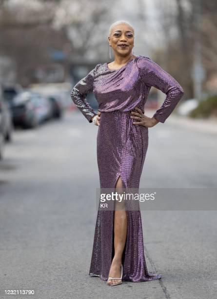 Karen Robinson is seen in her award show look for the 27th Annual Screen Actors Guild Awards on March 31, 2021 in Toronto, Canada. Due to COVID-19...