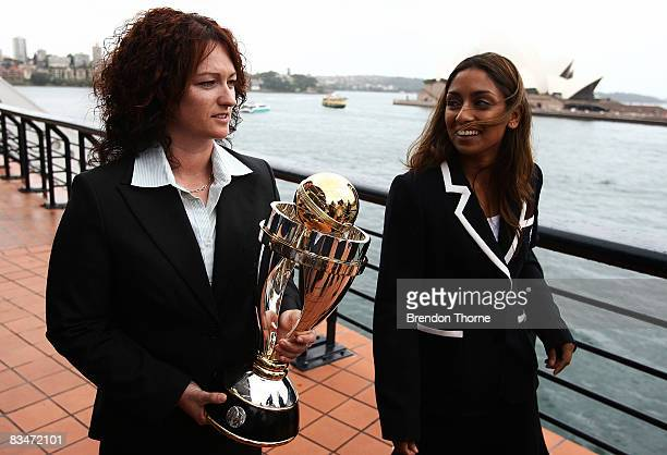 Karen Rolton of Australia and Isa Guha of England share a joke during the launch of the ICC Women's World Cup at Cruise Bar Circular Quay on October...