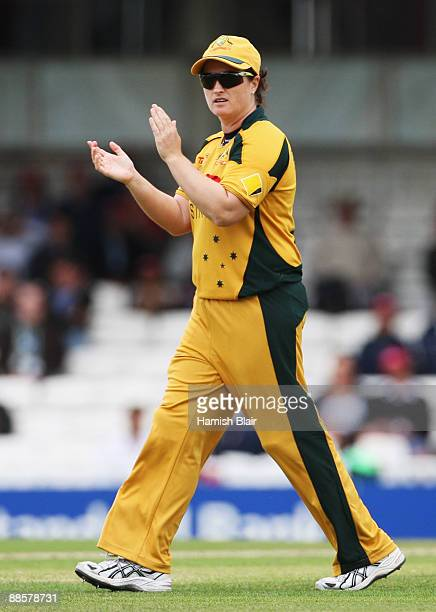 Karen Rolton of Australia encourages her team during the ICC Women's World Twenty20 Semi Final between England and Australia at the Brit Oval on June...