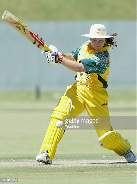 Karen Rolton of Australia in action during the International Womens Cricket World Cup match between South Africa and Australia at the LC Oval on...
