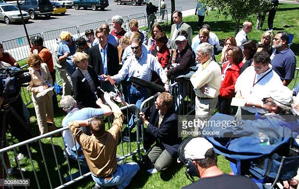 Karen Salaz spokes person for courts talks to the media just after Kobe Bryant and his attorney Pamela Mackey left the Eagle County Justice Center...