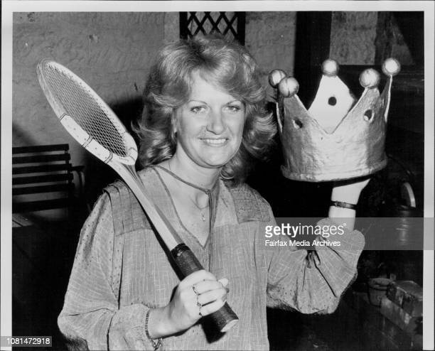 Karen Scott holds a 'King of Tennis' paper mache crown which will be made into a gold crown at her home in Paddington December 5 1980