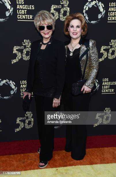 Karen Sharpe and Kat Kramer arrive at the Los Angeles LGBT Center's Gold Anniversary Vanguard Celebration Hearts Of Gold at The Greek Theatre on...