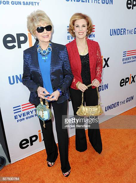 Karen Sharpe and Kate Kramer attend the Under The Gun LA premiere featuring Katie Couric and Stephanie Soechtig at Samuel Goldwyn Theater on May 3...