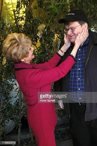 Karen Sharpe Kramer and Michael Moore during Michael Moore Luncheon Hosted By Karen Sharpe Kramer at Ago Resturant in Los Angeles California United...