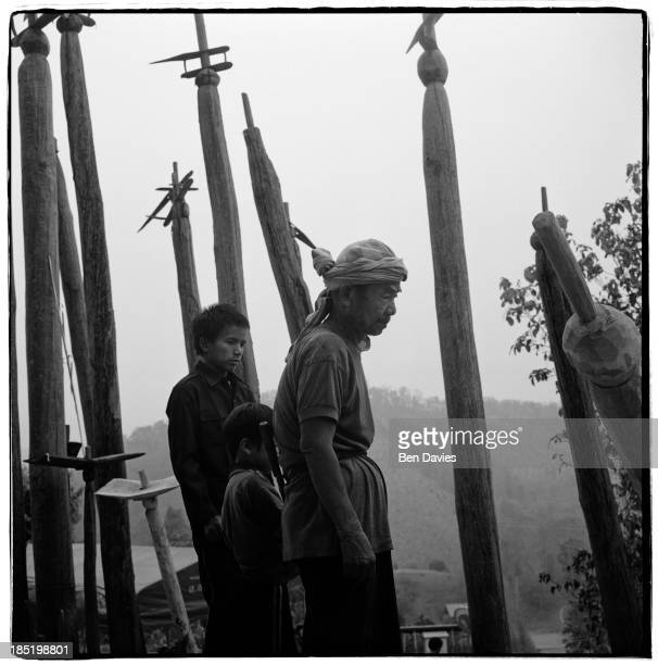 A karen spirit doctor in Ban Doi Sang Northern Thailand Every year villagers put up sacred spirit posts anointed with the sacrificial offerings of...