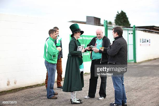 CARLISLE ENGLAND NOVEMBER 16 Karen the club mascot and programme seller outside the stadium during the Ebac Division One football match between...