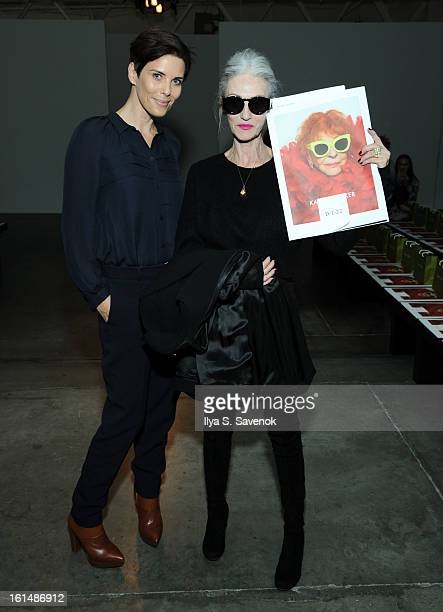 Karen Walker and Linda Rodin attend the Karen Walker fall 2013 fashion show during Mercedes-Benz FAshion Week at Pier 59 on February 11, 2013 in New...