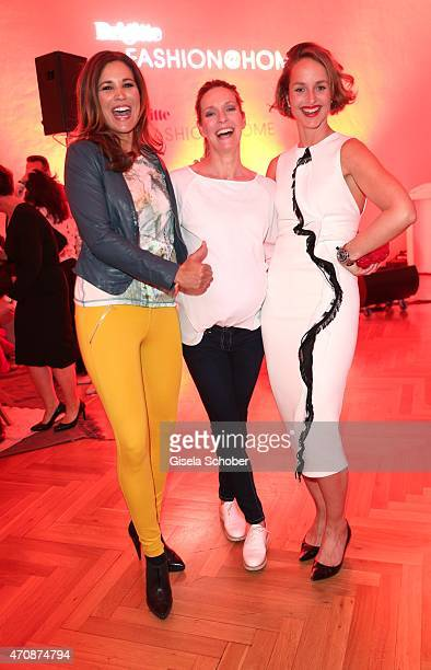 Karen Webb Lisa Martinek and Lara Joy Koerner during the Brigitte Fashion @Home event on April 23 2015 in Munich Germany