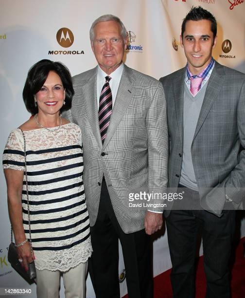 Karen West former NBA player Jerry West and son Jonnie West attend the Walking With Anthony charity event at Siren Studios on April 13 2012 in Los...