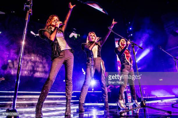 Karen Woodward Sara Dallin and Siobhan Fahey of Bananarama perform at Eventim Apollo on November 19 2017 in London England