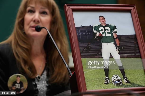 Karen Zegel whose son Patrick Risha took his own life after suffering from chronic traumatic encephalopathy testifies before the House Energy and...