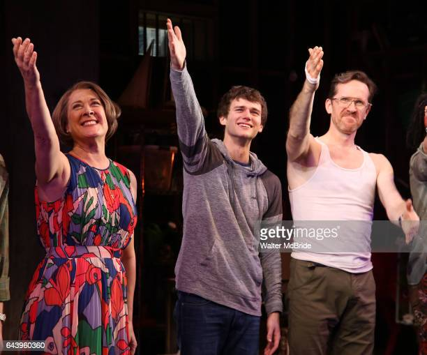 Karen Ziemba Brandon Flynn Jeffry Denman during the opening night performance curtain call for the Vineyard Theatre's 'Kid Victory' at the Vineyard...