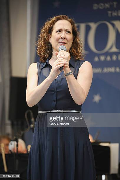 Karen Ziemba speaks on stage during 'Stars In The Alley' at Shubert Alley on May 21 2014 in New York City
