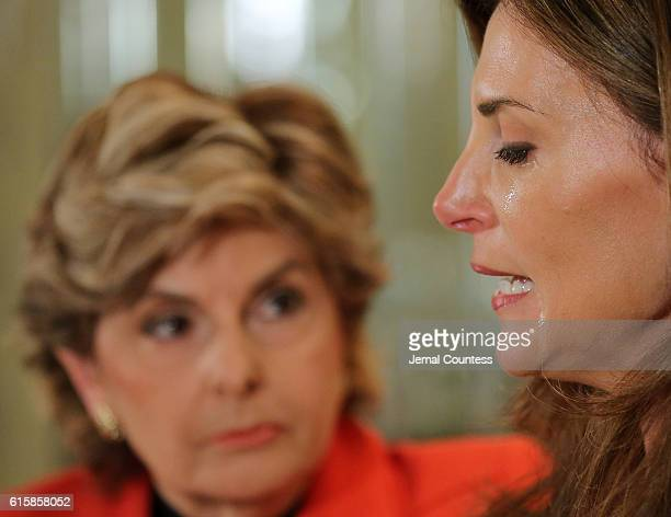 Karena Virginia speaks at a press conference where she identifies herself as victim of sexual misconduct by Republican Presidential Candidate Donald...